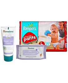 Pampers Active Baby Pants L 36 with Himalaya - Gentle Baby Wipes and Diaper Rash Cream (Set of 3)
