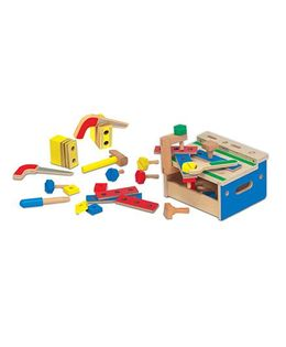 Melissa & Dough Wooden Mini Tool Bench 26 Building Pieces - Multicolor