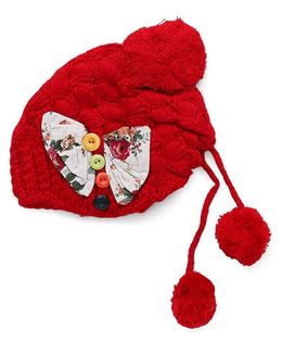 Flaunt Chic Bow & Buttons Winter Cap - Red