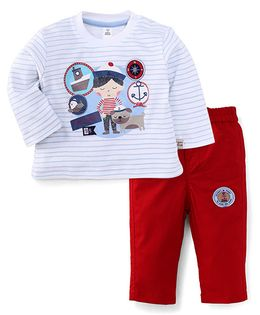ToffyHouse Full Sleeves T-Shirt And Pant Set Little Sailor Print - Red And White