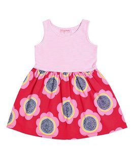 Crayonflakes Flower Print With Stripes Dress - Pink & Red