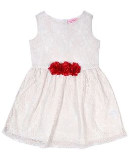 Crayonflakes Flower Applique Net Dress - Off-White