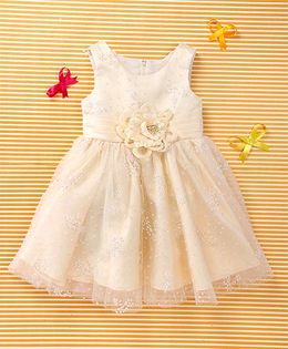 MFM Attractive Flower Design Party Dress - Off White