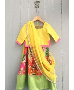 Frangipani Floral Print Ghagra With Blouse - Yellow And Multi Color