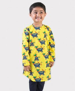 Tiber Taber Full Sleeves Mosquito Repellent Kurta Cow Print - Yellow