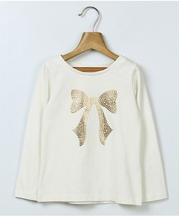 Beebay Full Sleeves Sequin Bow Printed T-Shirt - White