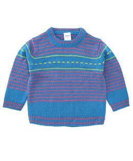 Wonderchild Pull Over Striped Sweater - Blue