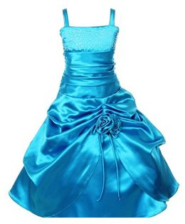 Pink Wings Girls Singlet Ball Gown - Blue