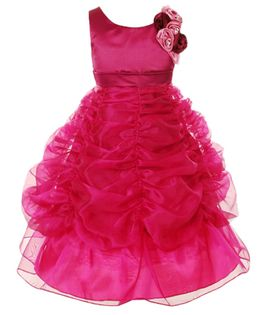 Pink Wings Ball Gown With Attached Flower - Pink