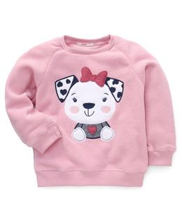 Fox Baby Full Sleeves Top Puppy Print - Pink