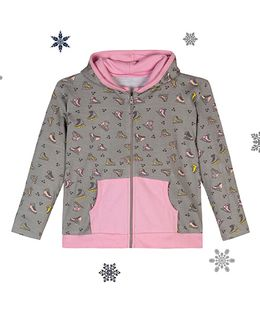 Chic Bambino Hoodie With Skates Design - Grey & Pink