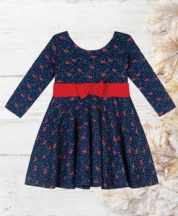 Chic Bambino Dress With Bow Fox Design - Navy Blue & Red