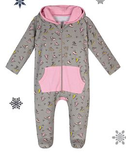 Chic Bambino Skates Print Romper With Hood - Grey & Pink