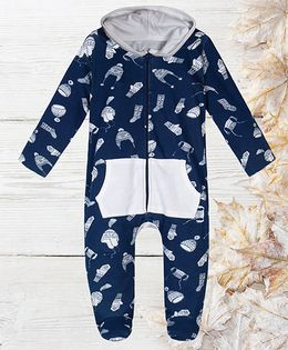 Chic Bambino Printed Romper With Hood - Navy Blue & White