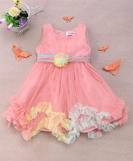 Party Princess Ruffled Party Dress With Colorful Frills - Peach & Light Green