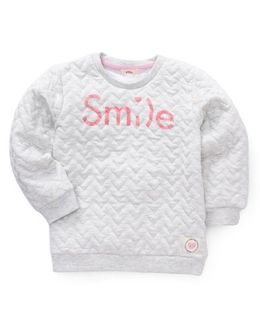 Fox Baby Full Sleeves Winter Wear T-Shirt Smile Print - Grey
