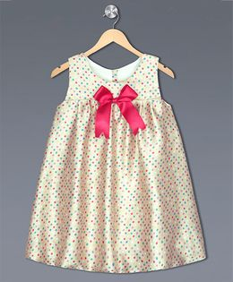 Shilpi Datta Som Polka Dot Dress With A Bow - Beige