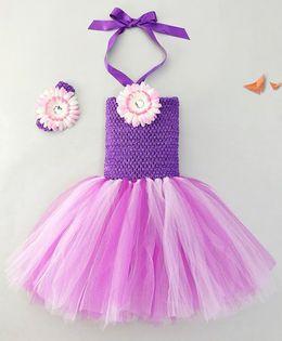 Adores Pretty Tutu Dress With Flower Headband - Purple
