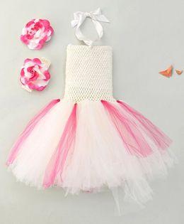 Adores Tutu Frill Dress With Headband - Beige & Pink
