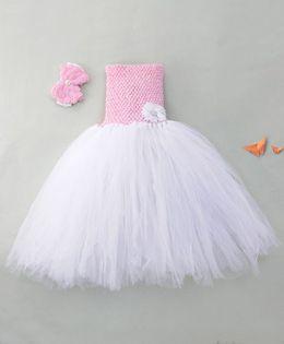 Adores Flower Detailing Tutu Dress With Headband - White & Pink