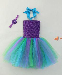 Adores Attractive Tutu Dress With Flower Headband - Blue Purple & Green