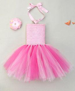 Adores Gorgeous Tutu Dress With Headband - Pink