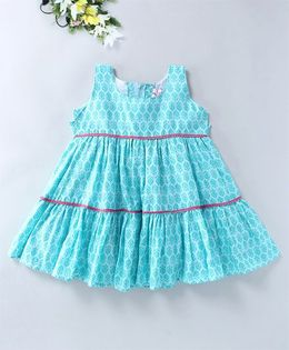 Mom's Girl Layered Dress With Lace - Turquoise Blue