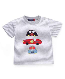 Great Babies Car Patches T-Shirt With Snap Buttons - Grey