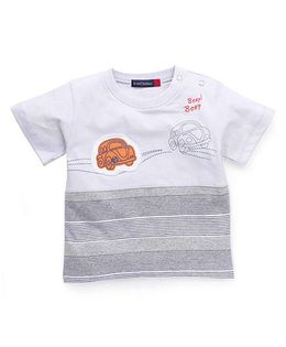 Great Babies Car Patch T-Shirt With Snap Buttons At Shoulder - Grey