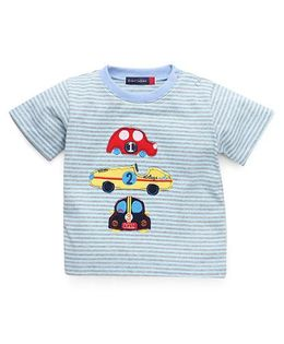 Great Babies Car Patches T-Shirt With Snap Buttons - Sky Blue