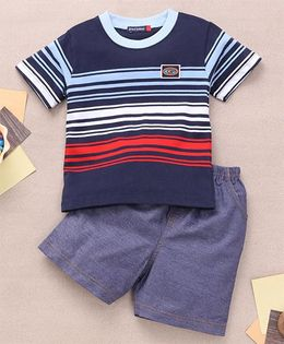 Great Babies Stripe Design T-Shirt & Shorts Set  - Navy Blue