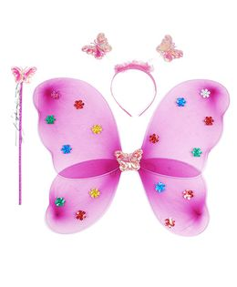 Aarika Butterfly Wings With Magic Wand & Hairband Fairy Costume Set - Hot Pink