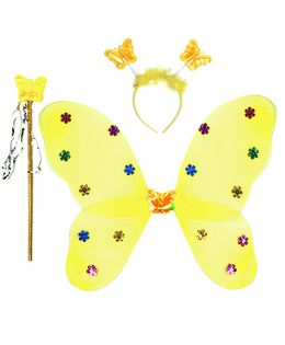 Aarika Butterfly Wings With Magic Wand & Hairband Fairy Costume Set - Yellow