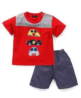 Great Babies 3 Car Patch T-Shirt & Shorts Set - Red