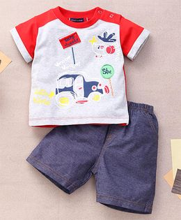 Great Babies Busy Street Print T-Shirt & Shorts With Snap Buttons  - Red