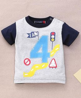 Great Babies Signal Print T-Shirt With Snap Buttons - Navy Blue