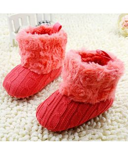 Wow Kiddos Warm Plush Soft Boots - Red