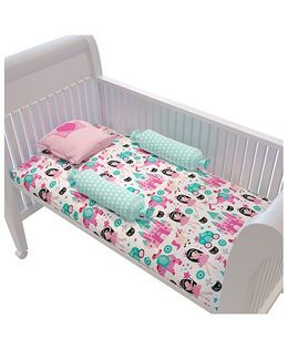 Fancy Fluff Premium Cot Bedsheet Pillow & Bolster Set Princess Theme - Pink Green