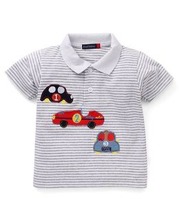 Great Babies 3 Cars Print Polo Neck T-Shirt - Grey