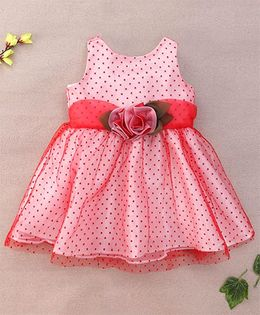 Little Coogie Dotted Dress With Flower Applique - Red