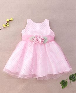 Little Coogie Dotted Dress With Flower Applique - Pink