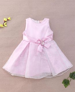 Little Coogie Stylish Baby Dress With Bow Applique - Pink