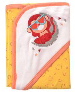 Beebop Monkey Hooded Wrapper - Orange