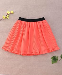 Chic Girls Stylish Skirt With Elasticated Waistband - Coral