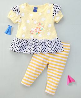 Happy Life Polka Dot Tee With Hearts & Striped Leggings - Yellow
