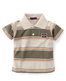 Great Babies Half Sleeves Striped T-Shirt - Light Brown