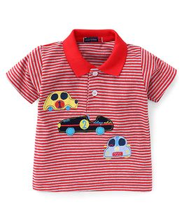 Great Babies Striped Half Sleeves Polo T-Shirt - Red