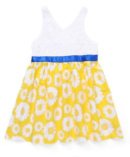 Beebay Sleeveless Frock Floral Print - Yellow