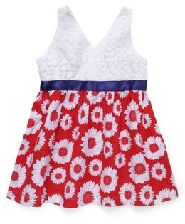 Beebay Sleeveless Frock Floral Print - Red White