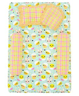 Fancy Fluff 4 Piece Premium Baby Mattress Set Chick Design - Sea Green